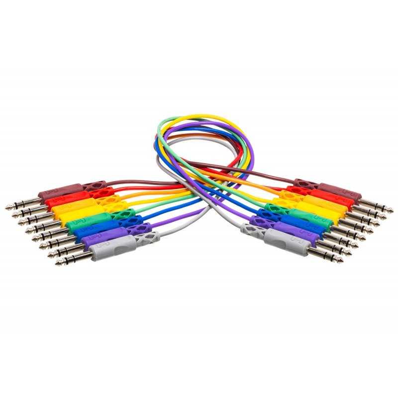 Hosa CSS-800 Patchkabel Stereojack balanced 6.3mm farbig 8er Pack